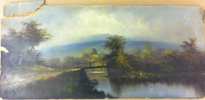 Oil painting on broken board before restoration