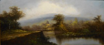 Oil painting on broken board after estoration